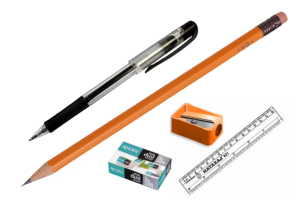 Pen, Pencils, Erasser & Shapner